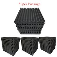 50 pces 300x300x25mm studio isolamento acústico espuma painéis cunhas tratamento de absorção à prova de som esponja protetora 4 cores