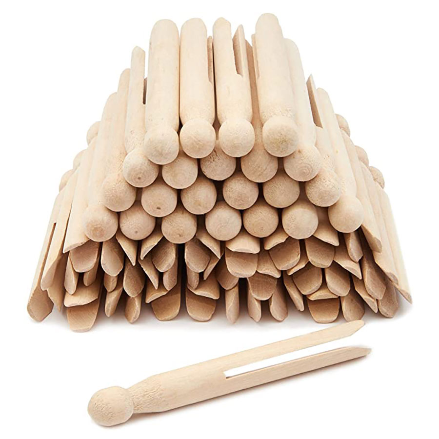 Natural Wood Clothes Pins Pegs Old School 50 count round clothespins weather resistant peg dolls Traditional Peg Wholesale