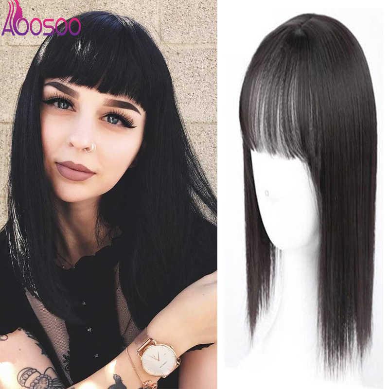 Kadınlar doğal renk düz saç patlama saçak üst kapaklar tokalar sentetik saç tokası çin'de peruk Hairpieces saç aksesuarları
