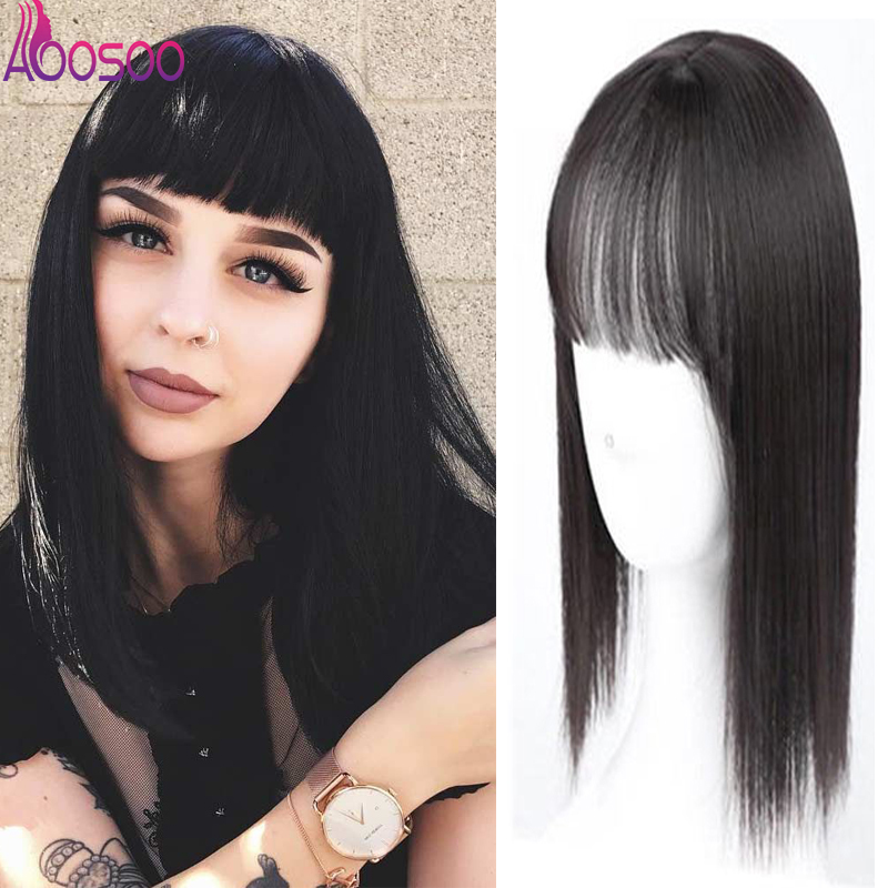 Women Natural Color Straight Hair Bang Fringe Top Closures Hairpins  Synthetic Hair Clip In Toupee Hairpieces Hair Accessories