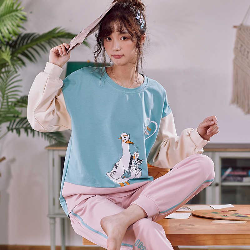 CAIYIER апельсины с принтом хлопковые пижамы комплект для женщин с круглым вырезом зимняя Пижама милых девочек, Повседневная хлопковая одежда для сна с длинными рукавами, пижама, нарядное платье M-XXL