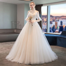 2020 New Arrival Half Celebrity Dress Vibrato The Same Wedding Dress 2020 New Bride Style French Simplified Hepburn Tail Sling.(China)