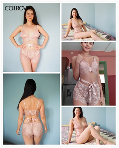 Image 5 - COLROVIE Rosa Scalloped Floral Spitze Dessous Set Frauen Pyjama Set 2019 Burgund Bralettes Und Slips Nachtwäsche Sexy Nachthemd