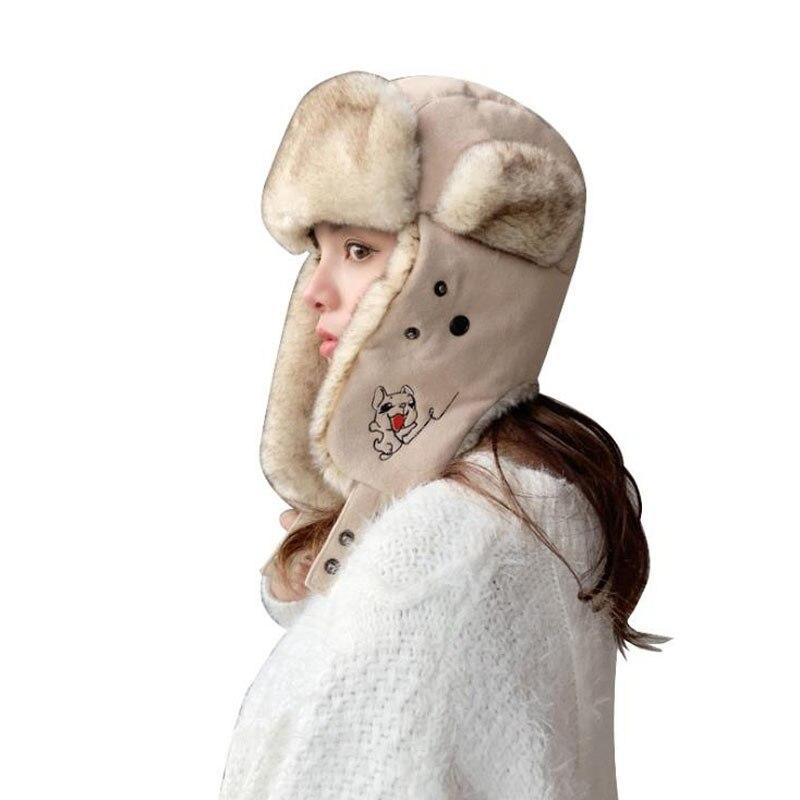 Doitbest women hat Winter fur bomber hats Windproof Thick warm women's Outdoor skiing cute dog cat Face Mask Earflap ushanka hat