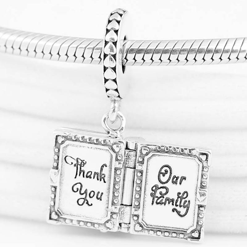 Original Family Book Our Family To My Mother Thank You Pendant Bead Fit 925 Sterling Silver Charm Bracelet Diy Jewelry