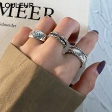 LouLeur-Anillo de plata de ley 2020 ajustable para mujer, diseño liso abierto, joyería fina, regalos, tendencia 925