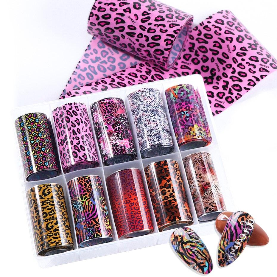 10 рулонов/коробка, фольга для ногтей с принтом животных