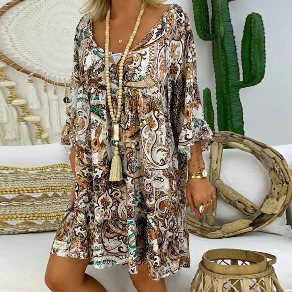 Women s Vintage Summer Dress Ladies Loose Plus Size Print Long Sleeve V