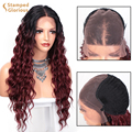 lsaic Synthetic Long Deep Wave Wig for Women 13x4 Lace Front Wigs Omber Wine Red Middle Part Heat Resistant Fiber