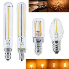 С регулируемой яркостью E14 светодиодный лампы E12 110V 220V 0,5 Вт 1 2 Вт Светодиодный светильник светодиодный нити ночник люстра Светодиодный лампочки Эдисона C7 T20