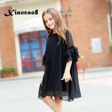 Girls dresses summer kids short sleeve loose casual dress children o neck cute princess party dress clothing fits 6~16 Years