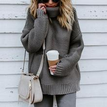 Casual Autumn Winter Turtleneck Sweater Women Loose Oversize Solid Knitted Sweaters Warm Long Sleeve Pullover Black Pink