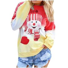 Women's T-Shirt Contrast Color Christmas Printed Long Sleeve O-Neck Pocket Loose Pullover Autumn Winter Fashion Casual Tops #A(China)