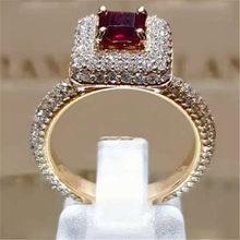 WUKALO New Fashion Female AAA Red Cubic Zirconia Ring For Women Vintage Couple Rings Luxury Yellow Gold Color Crystal Jewelry