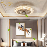 Modern Ceiling Fan Lights Dining Room Bedroom Living remote control Fan Lamps Invisible Ceiling Lights Fan Lighting With Crystal