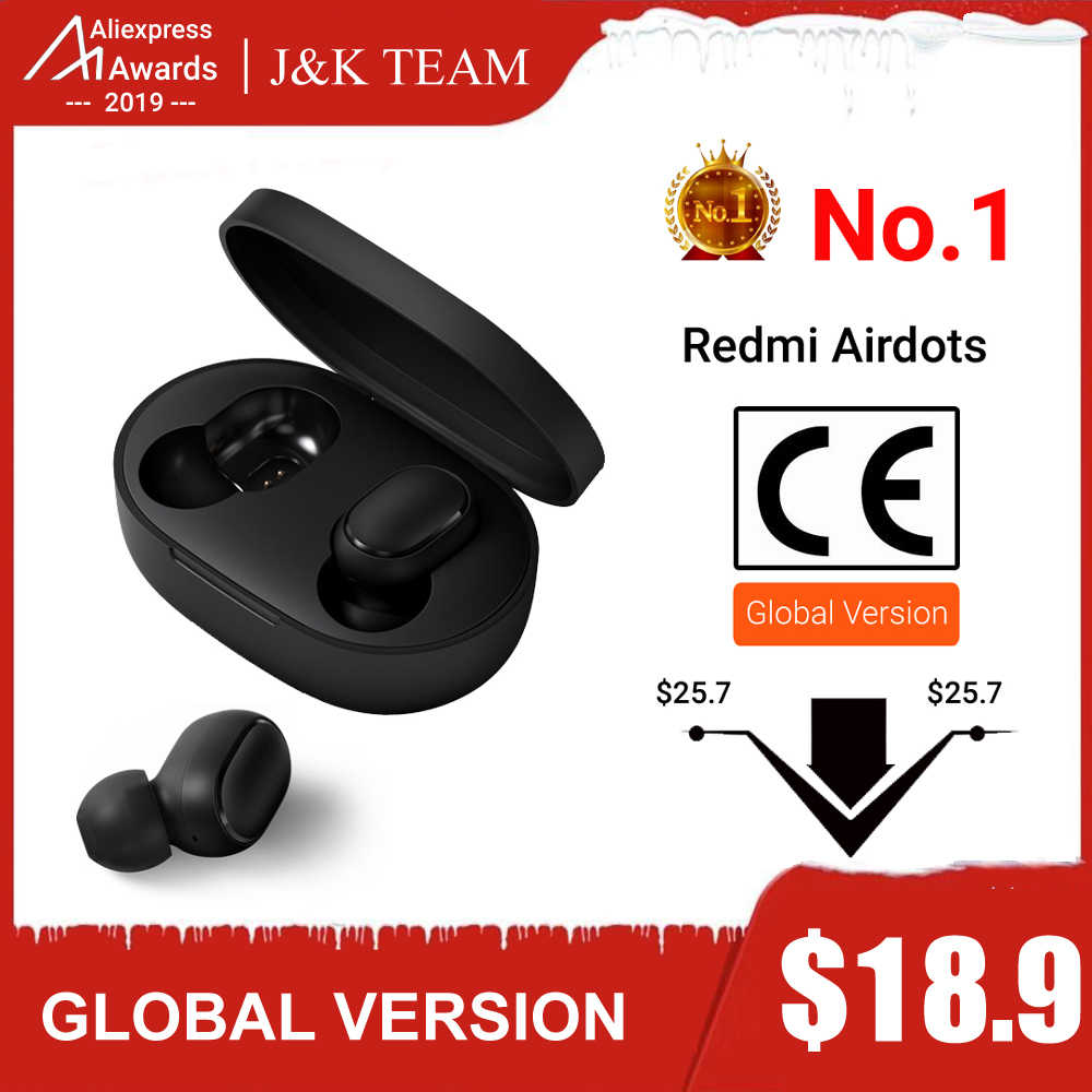 Original Xiaomi Redmi Airdots Headphones Xiaomi Wireless earphone Voice control Bluetooth 5.0 Noise reduction Tap Control