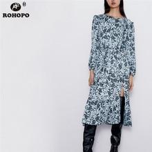 ROHOPO Black Floral Long Sleeve Ruffled Sky Blue Midi Dress V Collar Draped Peplum Pleated Maxi Autumn Ladies Vestido #9308 sky blue half sleeve maxi dress