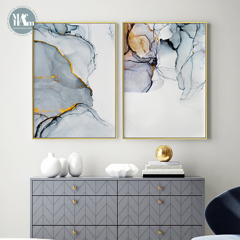 Nordic Morden Abstract Blue-gray Line Wall Art Canvas Painting Golden Blue Smoke Art Poster Print Wall Picture For Living Room