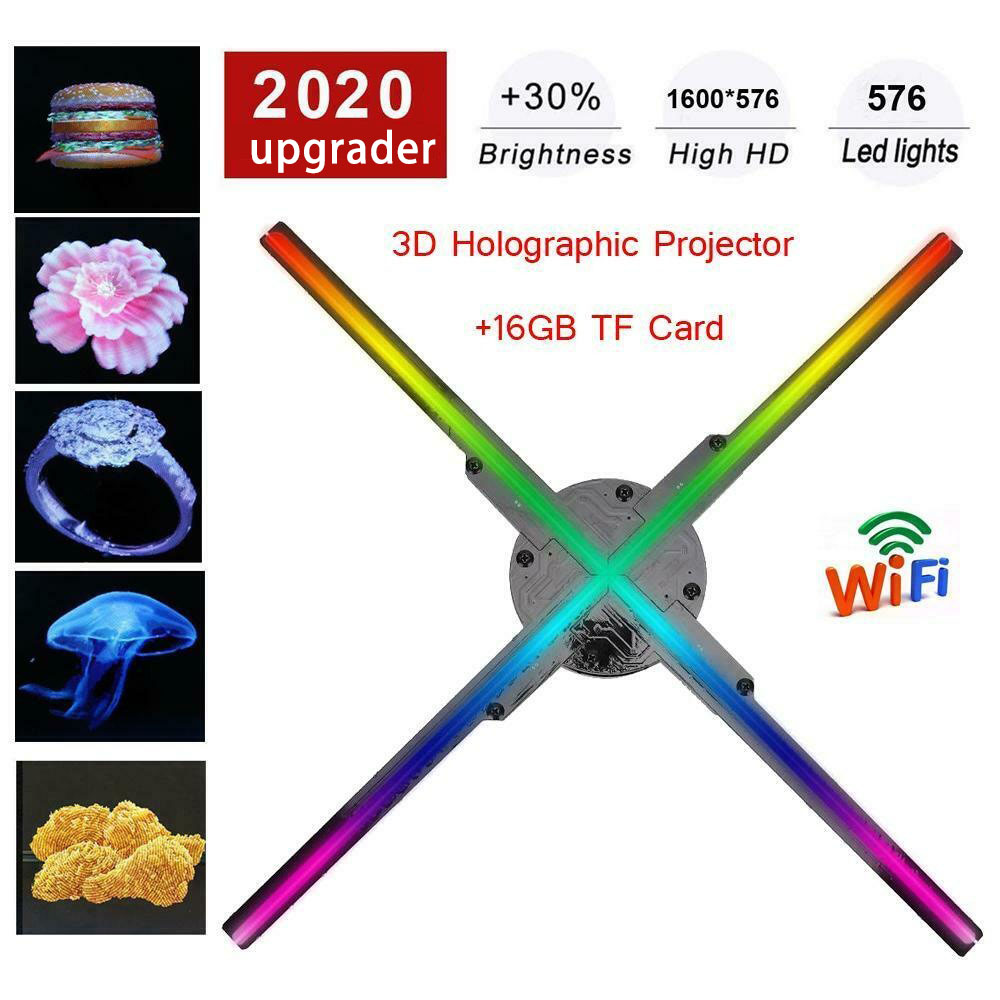 Actualización de 50CM 4 ventilador holograma ventilador luz con Control Wifi holograma 3D pantalla publicitaria LED ventilador holográfico imagen para vacaciones