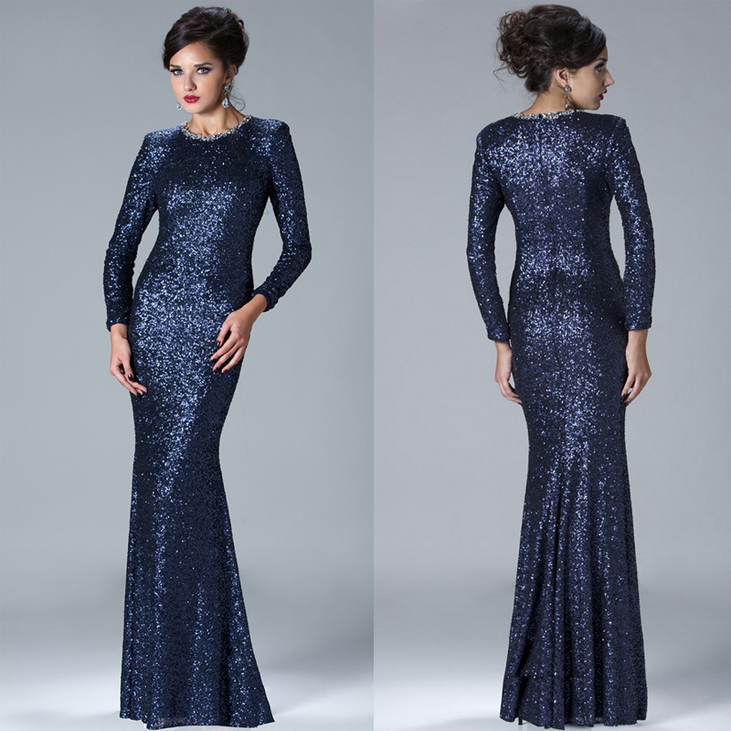 Vestido De Noiva 2015 Gold/Navy Blue Fashionable Sequin Long Party Formal Dress Long Sleeve Mother Of The Bride Dresses XMD16