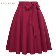 Kate Kasin Vintage Solid Pleated A-Line Midi Skirt