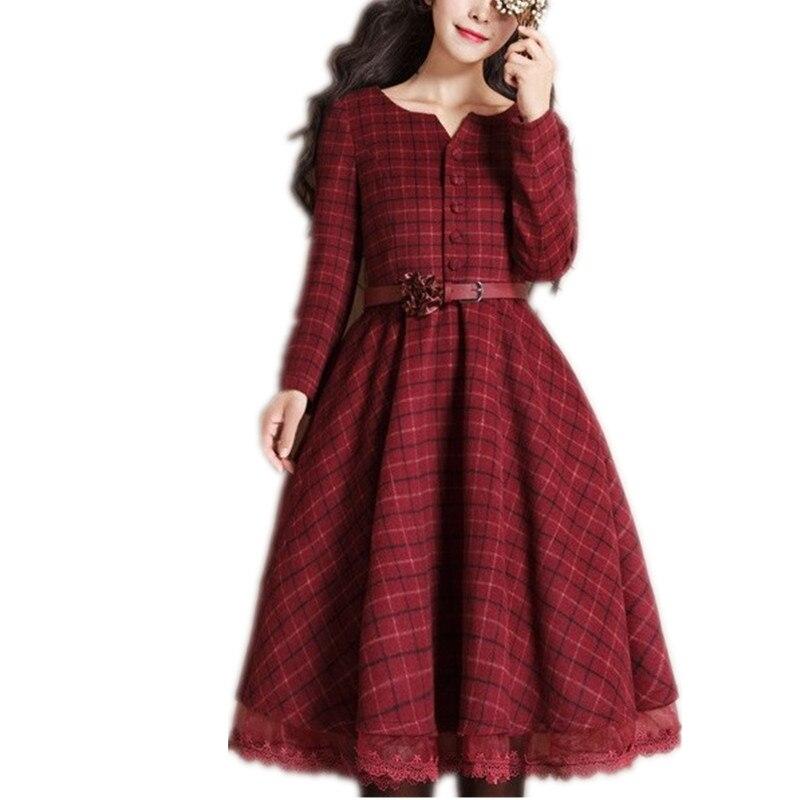 Plus Size 3XL!New Autumn Winter Long Sleeve Woolen Coat Women O-neck Patchwork Lace Vintage Sweet Plaid Coat