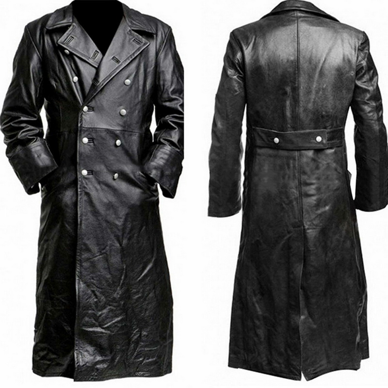 2019 Autumn Winter Men's Military Uniform Black Artificial Leather Trench Coat