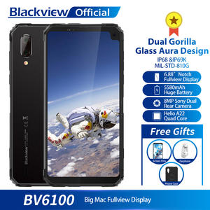 "Blackview BV6100 Dual Gorilla 6.88"" Screen Smartphone 3GB+16GB Android 9.0 IP68 Waterproof Cellphone 5580mAh NFC Mobile Phone"