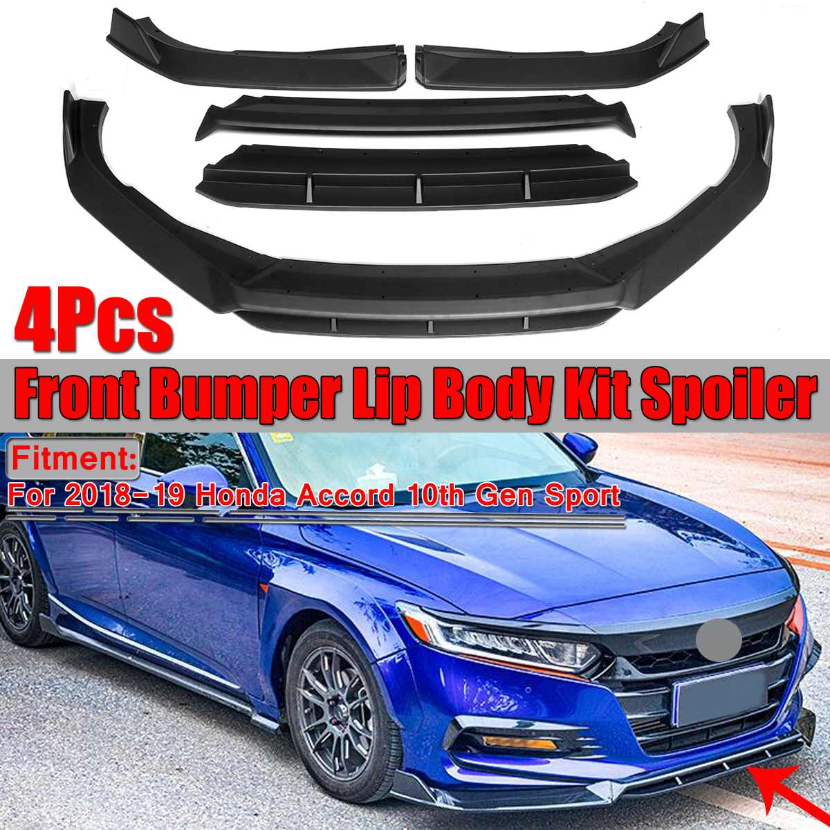4 stück Auto Front Lip Splitter Körper Kit Spoiler Splitter Frontschürze Lip Für Honda Für Accord 10th 2018 2019 Gen Sport