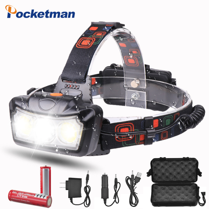 Headlamp 3200LM Headlight Led T6 COB Head Torch Flashlight Head Light Super Bright Waterproof Headtorch Head Lamp