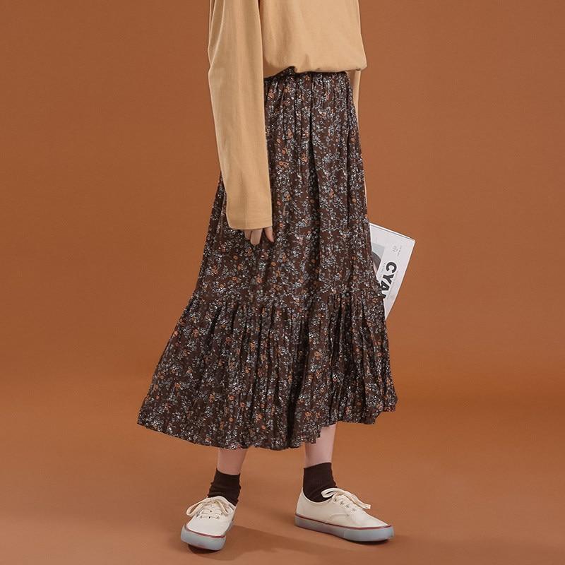 Floral Skirt Pleated Women Korean-Style Summer Print Black Empire Elastic-Waist Color Long Skirt Female