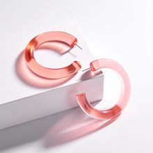 Fashion 2020 Big Simple Pink Resin Acrylic Dangle Earring for Women  Round Transparent Geometric Statement Hoop Earrings Jewelry