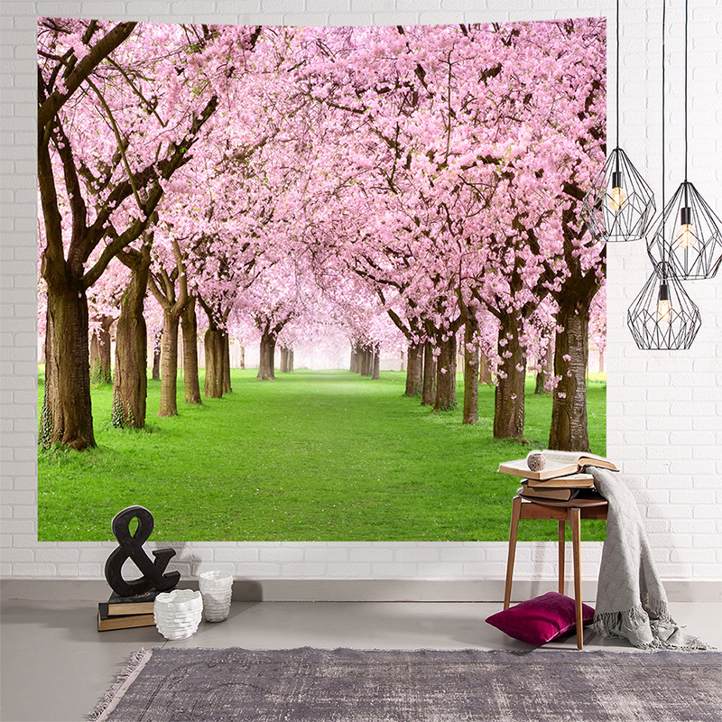 Image 3 - Mandala Indian Tapestry Wall Hanging Romantic Cherry Blossoms  Misty Mountain Bohemian Yoga Mat Home Bedroom Art CarpetTapestry   -