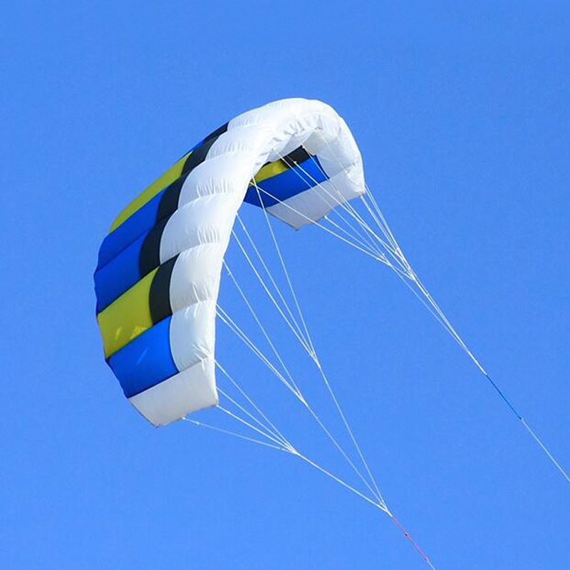Livraison gratuite double ligne Parafoil cerfs-volants volant arc-en-ciel sport plage cascadeur cerf-volant avec poignée ripstop nylon extérieur kitesurf puissance