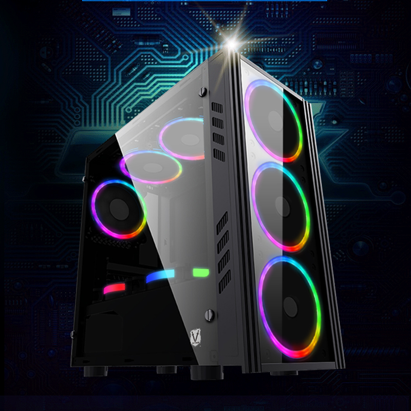 374*185*380MM Acrylic Full-side Transparent computer case Vertical matx Water Cooling PC Gaming Chassis case gabinete computador