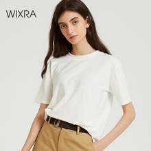 Wixra Tutti Partita di Base O Collo T Shirt da Donna Elegante T Shirt Della Signora Casual Top A Manica Corta Delle Donne In Morbido Cotone Top MaglietteMagliette
