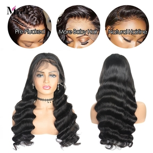 Image 3 - Meetu 13X4 Lace Front Wig Loose Wave Human Hair Wigs For Black Women Brazilian Transparent Lace Front Human Hair Wig Pre Plucked
