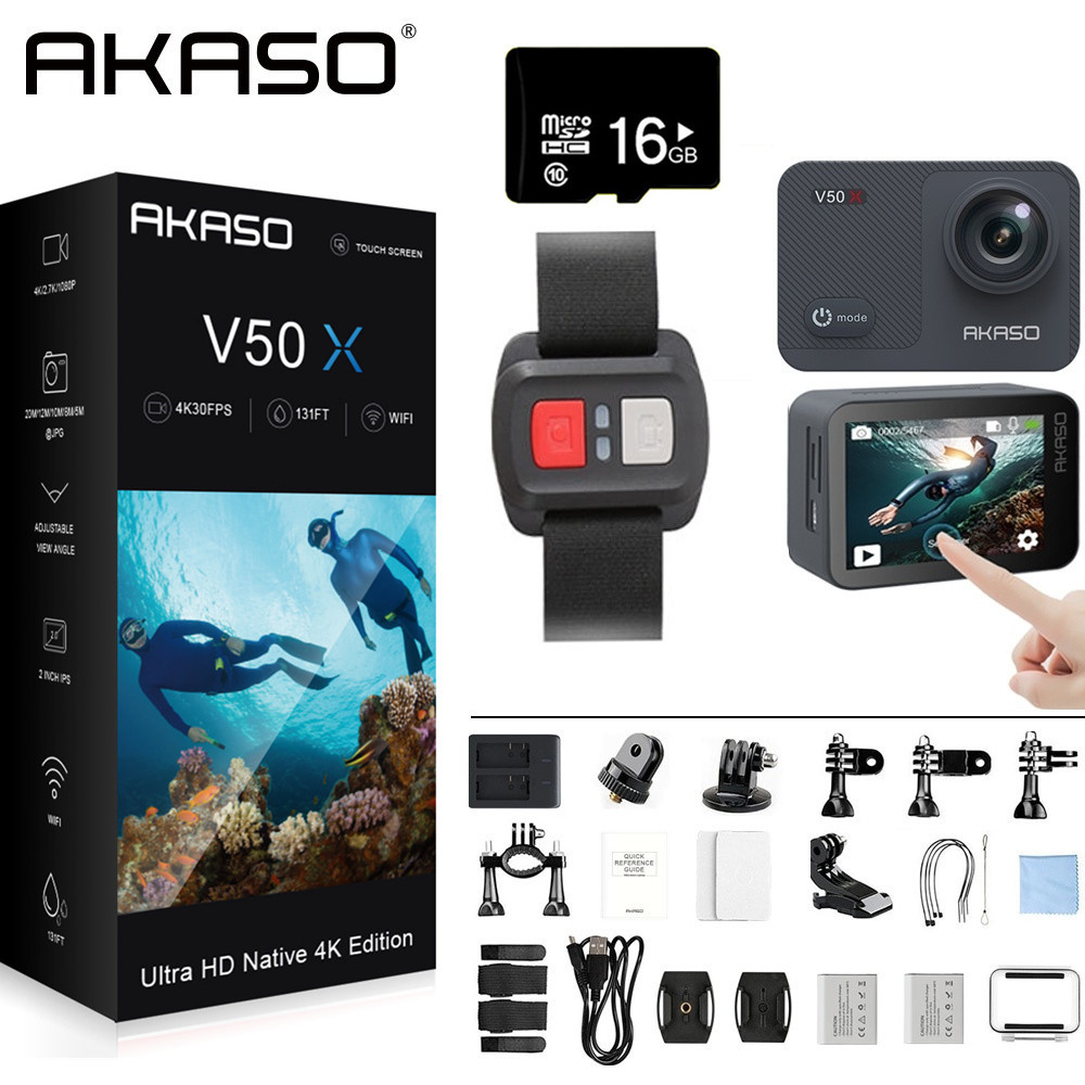 AKASO V50X Native 4K30fps WiFi Action Camera with EIS Touch Screen 4X Zoom 131 feet Waterproof Camera Remote Control Sports Came image