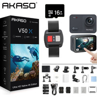 AKASO V50X Native 4K30fps WiFi Action Camera with EIS Touch Screen 4X Zoom 131 feet Waterproof Camera Remote Control Sports Came