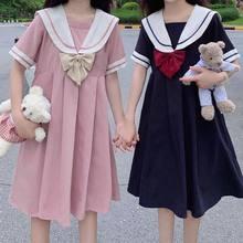 Sukienka z krótkim rękawem kobiety łuk Patchwork marynarski kołnierzyk plisowany JK styl japoński słodki Kawaii plisowana A-Line studenci nowy Harajuku