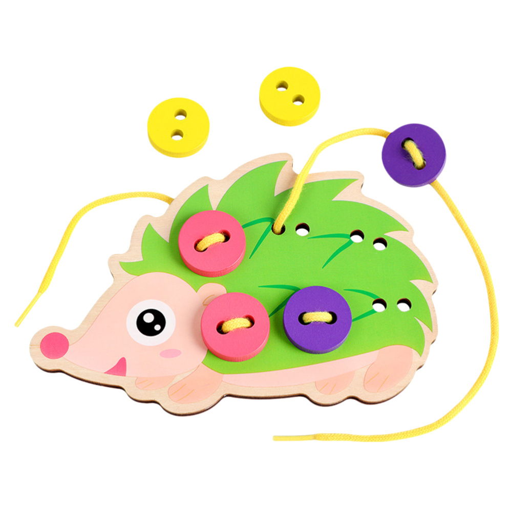 Hedgehog Thread Board Kids Funny Button Threading Toy Early Educational Toy Thread Playing Toy