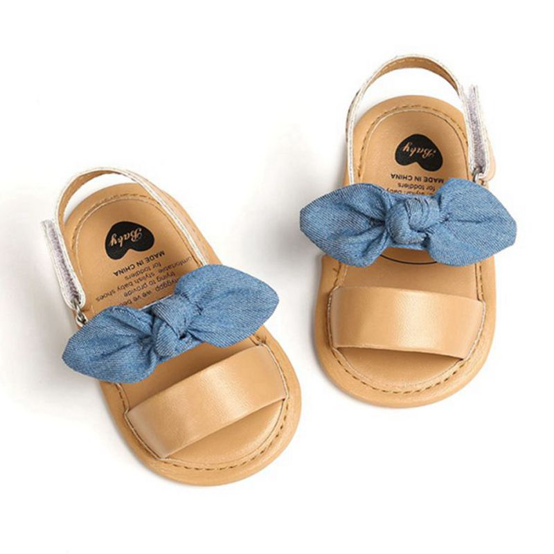 Fashion Newborn Infant Baby Girls Princess Shoes Bowknot Toddler Summer Sandals PU Non-slip Shoes 0-18M 1