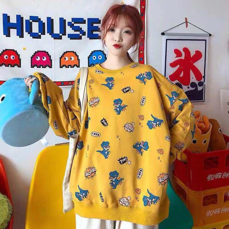 Ulzzang Autumn Female Harajuku Fashion Sweatshirt Casual Loose S-2XL Dinosaur Cartoon Hooded INS Pullovers Sweatshirt Women Girl