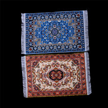 Dollhouse Miniature 10*15cm 1:12 Embroidered Carpet Woven Floral Rug Floor Coverings Gifts Decoration Craft Figurines Miniatures(China)
