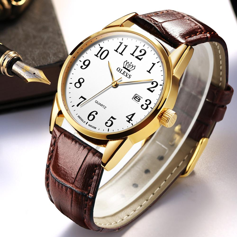 men and women's wristwatch waterproof quartz watch with calendar casual concise style clock