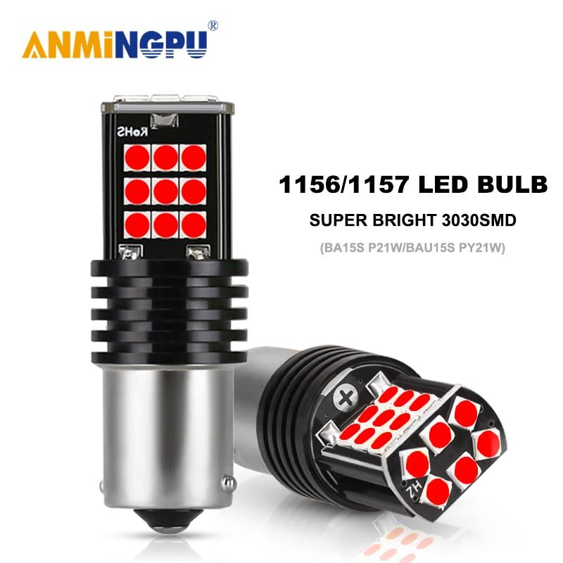 ANMINGPU 2x Signal Lamp 1156 LED P21W BA15S R5W PY21W BAU15S 3030SMD Canbus 1157 LED AY15D P21 5W Para Freio Do Carro Luz De Backup 12V