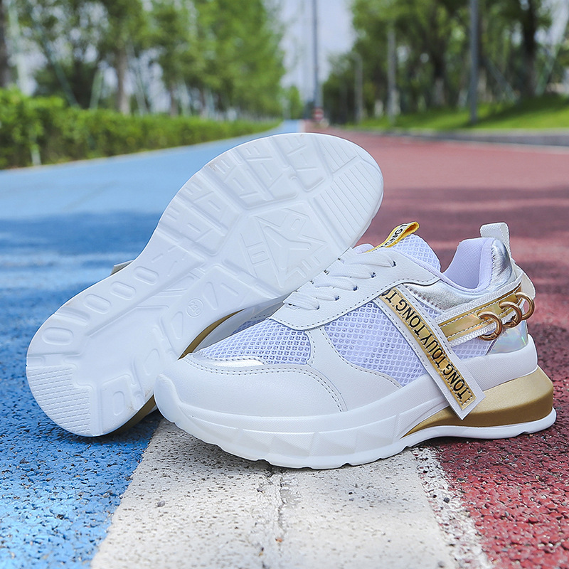 Women Casual Shoes Mesh Breathable Platform Sneakers Chunky Heel Dad Shoes Wedge White Wlking Shoes Woman Footwear Trainers