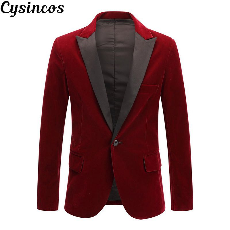 CYSINCOS 2019 Mens Winter Velvet Wine Red Fashion Leisure Suit Jacket Wedding Groom  Slim Fit Blazer Hombre Masculino
