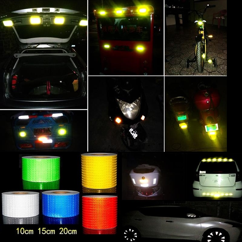 10CM*1M Car Van Schoolbus Decoratiive Sticker PVC Reflective Self-adhesive Tape Road Traffic Warning Sign Highlight Safety Tapes