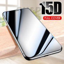 Cristal templado de protección completa 15D para iphone 6 7 6s 8 Plus X XS Max XR vidrio Protector de pantalla para iphone 11 Pro Max 7 6S Glass